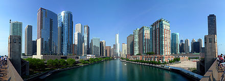 View west along the Main Stem of the Chicago River from the Outer Drive Bridge, 2009 20090524 Buildings along Chicago River line the south border of the Near North Side and Streeterville and the north border of Chicago Loop, Lakeshore East and Illinois Center.jpg