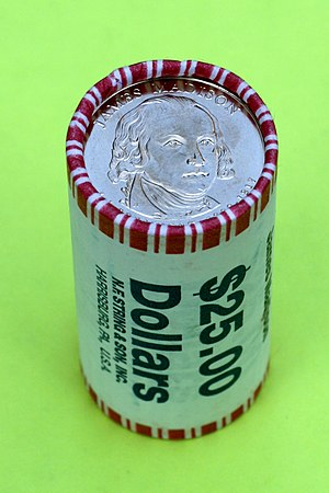 Coin wrapper - A roll of 25 U.S. dollars