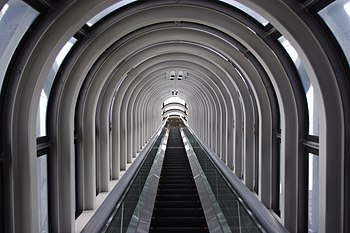 English: Escalator Tunnel, Umeda Sky Building,...