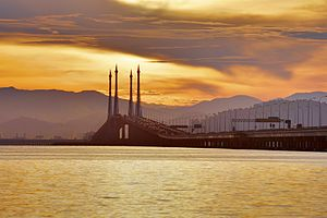 Gelugor - The Penang Bridge runs between Gelugor and Perai on the Malay Peninsula.
