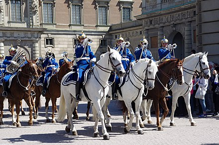 The Life Guards' Dragoon Music Corps performing during the National Day of Sweden in 2012 20130525 Stockholm Royal Guard 4240.jpg