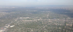 Hackensack, New Jersey - View of Hackensack from a plane