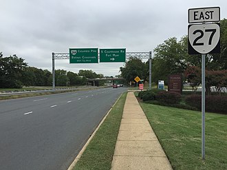 Virginia State Route 27 - View east at the west end of SR 27 at US 50 in Arlington