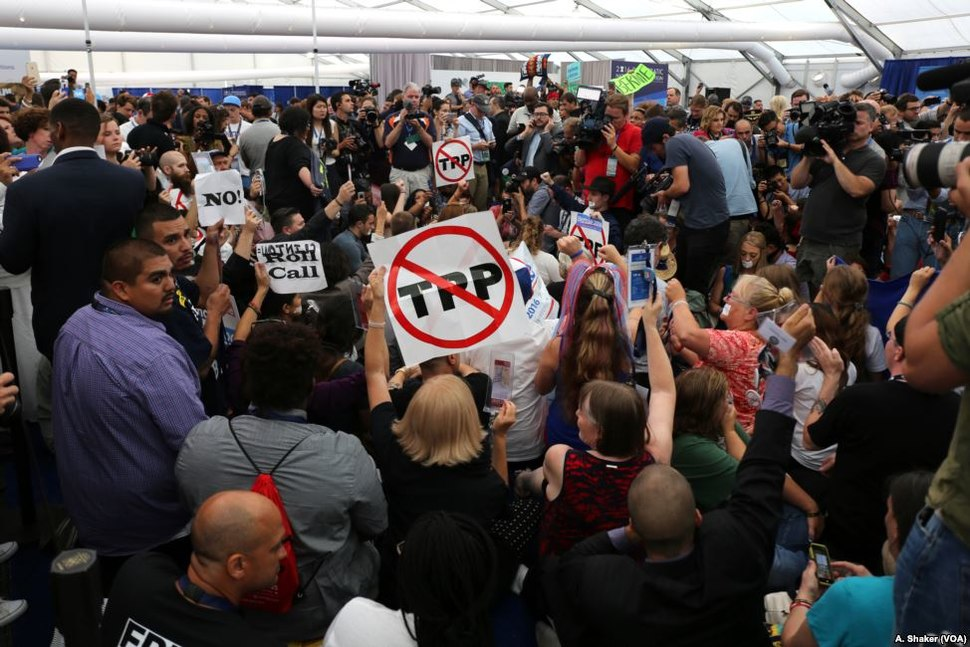 2016 Democratic Convention protesters at media center
