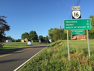 Virginia State Route 16 - View south along SR 16 in Sugar Grove