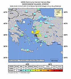2020-10-30 Néon Karlovásion, Greece M7 earthquake intensity map (USGS).jpg