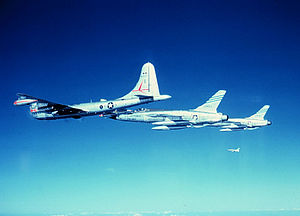 23d Fighter Squadron - KB-50J of the 420th Air Refueling Squadron refueling 2 Republic F-105D's from the 23d Tactical Fighter Squadron, about 1960