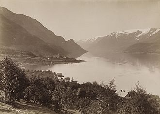 Ullensvang - View of the Sørfjorden from Lofthus, looking towards the Folgefonna glacier (c. 1885)