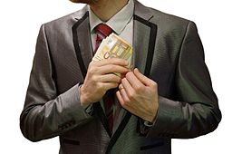 2 - corruption - man in suit - white background - euro banknotes hidden into left jacket inside pocket - royalty free, without copyright, public domain photo image