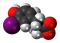 3-Iodotyrosine zwitterion 3D spacefill.png