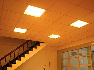 Dropped ceiling - Dropped ceiling with LED lamps