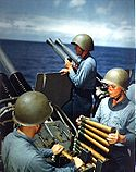 40mm gun practice on USS Alaska (CB-1), 1945.jpg