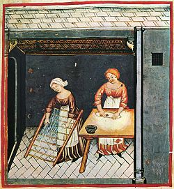 Making pasta; illustration from the 15th century edition of Tacuinum Sanitatis, a Latin translation of the Arabic work Taqwīm al-sihha by Ibn Butlan.