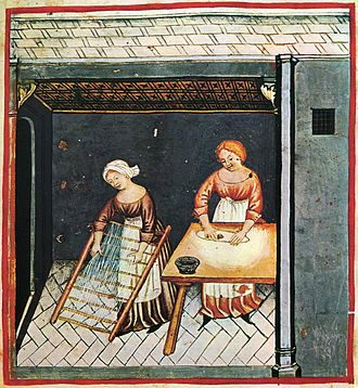 Pasta - Making pasta; illustration from the 15th century edition of Tacuinum Sanitatis, a Latin translation of the Arabic work Taqwīm al-sihha by Ibn Butlan.