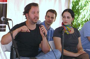 Molly Crabapple - Crabapple (right) at the ACT-I-VATE panel at the 2009 Brooklyn Book Festival
