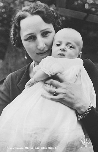 Harald V of Norway - Prince Harald with his mother Crown Princess Märtha.