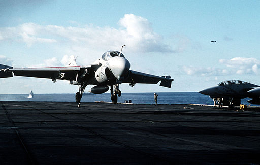 A-6E of VA-85 landing on USS America (CV-66) in 1991