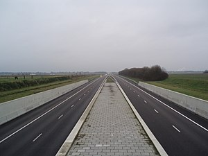 """A37 motorway (Netherlands) - A37 seen from the viaduct """"Erica""""."""