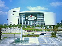 The American Airlines Arena in Miami, home of the Miami Heat.