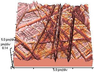 Atomic force microscopy - Atomic force microscope topographical scan of a glass surface. The micro and nano-scale features of the glass can be observed, portraying the roughness of the material. The image space is (x,y,z) = (20 µm × 20 µm × 420 nm).