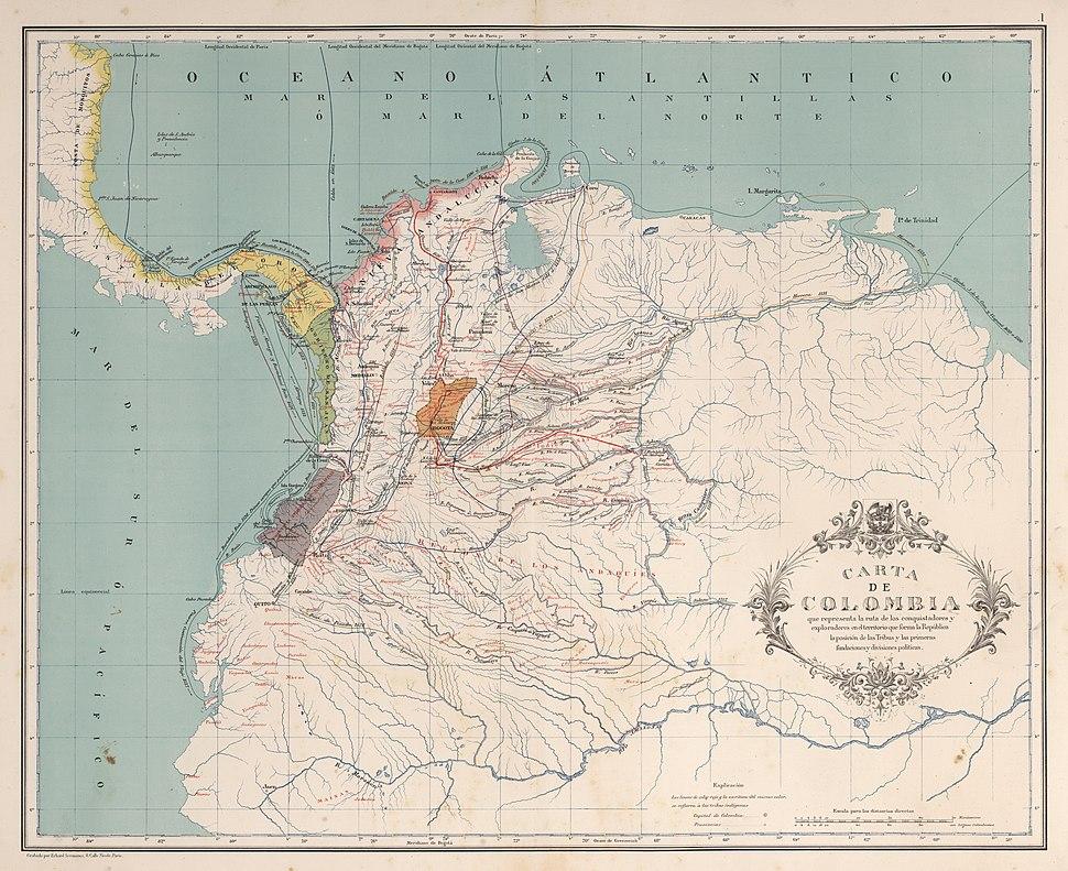 AGHRC (1890) - Carta I - Rutas de los conquistadores de Colombia