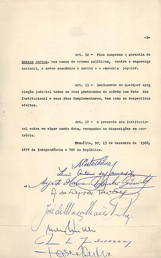 Artur da Costa e Silva - Eighth page of the Institutional Act Number Five (AI-5), the most repressive of all Institutional Acts enacted by the military government, with signatures of President Costa e Silva and other dignitaries.