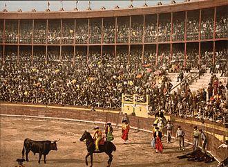 Bullfighting - A bull fight in Barcelona, Spain, ca.1900