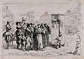 A crowd of people have gathered in the street to watch a Pun Wellcome V0040135.jpg