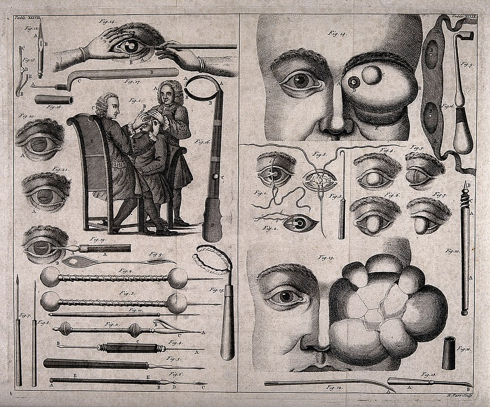 A double sheet showing various ophthalmology instruments, ey Wellcome V0016255