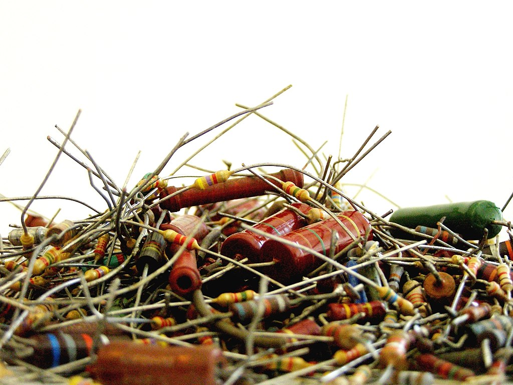 A mountain of different types of resistors