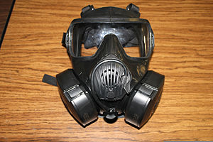 M50 joint service general purpose mask - A M50 gas mask with attached filters