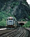 A westbound crosses the Potomac River at Harpers ferry WV in June, 1991.jpg