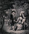 A white man approaches a black woman sitting on a bench in a Wellcome V0040087.jpg