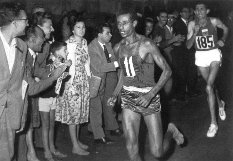 Abebe Bikila sprints away from Rhadi Ben Abdesselam
