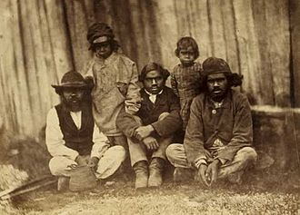 Aboriginal farmers at Loddon Aboriginal Protectorate Station at Franklinford, Victoria, in 1858 Aboriginal farmers at Franklinford 1858.jpg