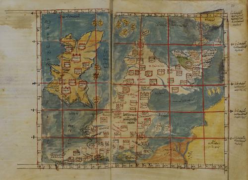 Ptolemyがイギリス諸島を描いた初期のギリシャ地図(1300年頃)。スコットランドが右回りに回転しています。