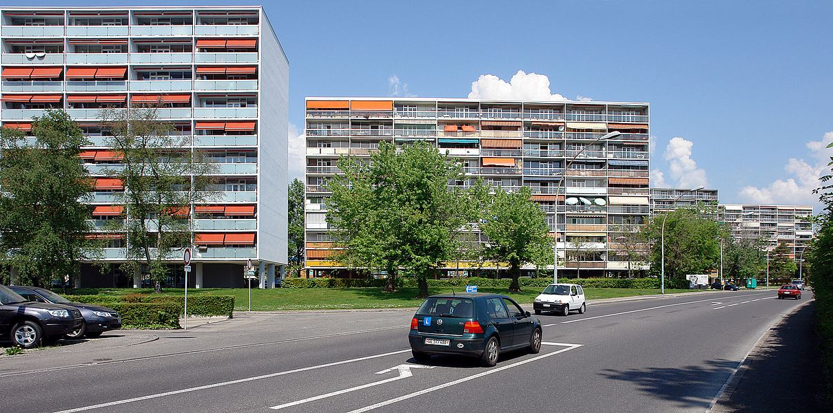 Cité Satellite de Meyrin, large housing estate, Meyrin, Geneva, 1960-63, Architect: Georges Addor