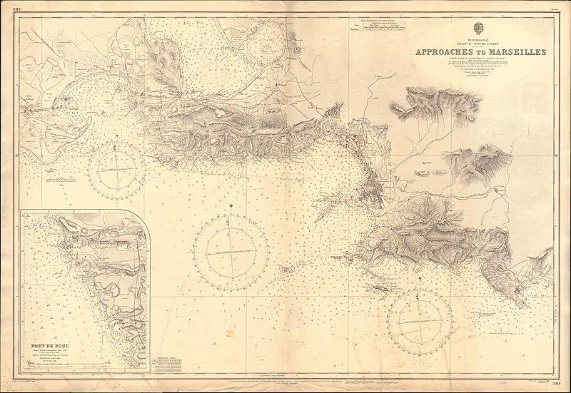Approaches to Marseilles Marsilya Yaklaşım Haritası Mercator Projection Merkatör Projeksiyon Harita Projeksiyon sistemleri
