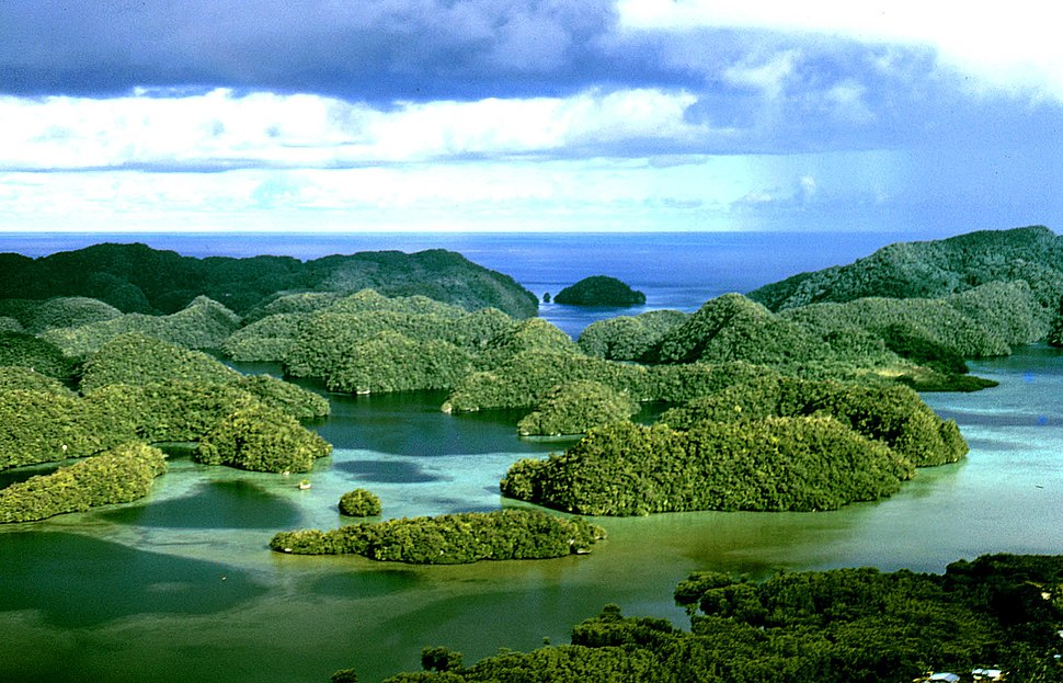 Aerial view of uplifted limestone islands in Palau