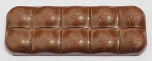 Aero (chocolate) - Aero bar (Canada). The bar was updated to have a bubble-shaped crown on each segment.