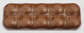 Aero (chocolate) - Aero bar. The bar was updated to have a bubble shaped crown on each segment.