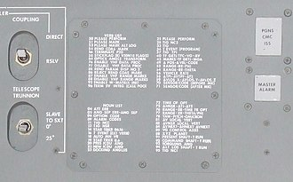 Apollo Guidance Computer - Partial list of numeric codes for verbs and nouns in the Apollo Guidance Computer, printed for quick reference on a side panel