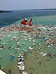 Air Station Traverse City helicopter flies over Torch Lake sandbar party 150703-G-ZZ999-001.jpg