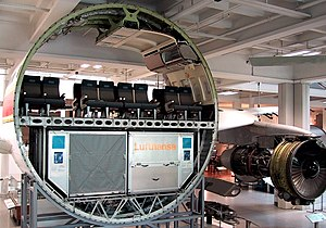 Jet airliner - Cutaway of an Airbus A300 jet airliner showing the cabin and cargo deck