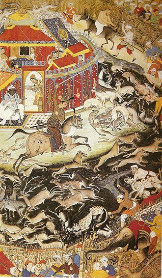 Indian natural history - Blackbuck hunting with cheetahs from the Akbarnama