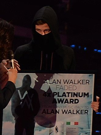 Alan Walker (music producer) - Walker at WMA, with an outfit resembling a black bloc protester or a computer hacker