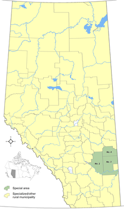 Locations of Alberta's special areas