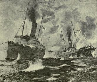 Armed merchantman - HMS Alcantara and SMS Greif dueling at close range during the Action of 29 February 1916.