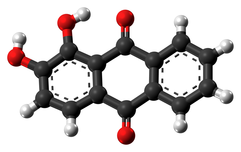 Ball-and-stick model of alizarin