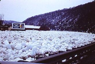 Oil City, Pennsylvania - Ice jam on Oil Creek near Oil City, during mid/late 1970s.